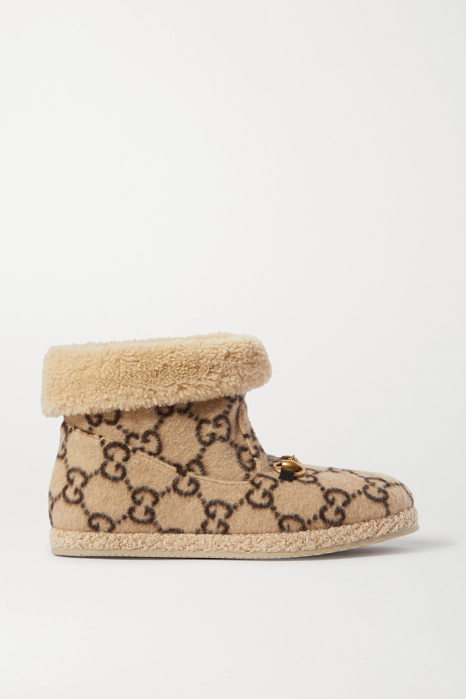 Gucci Fria horsebit-detailed logo-print wool and faux shearling ankle boots