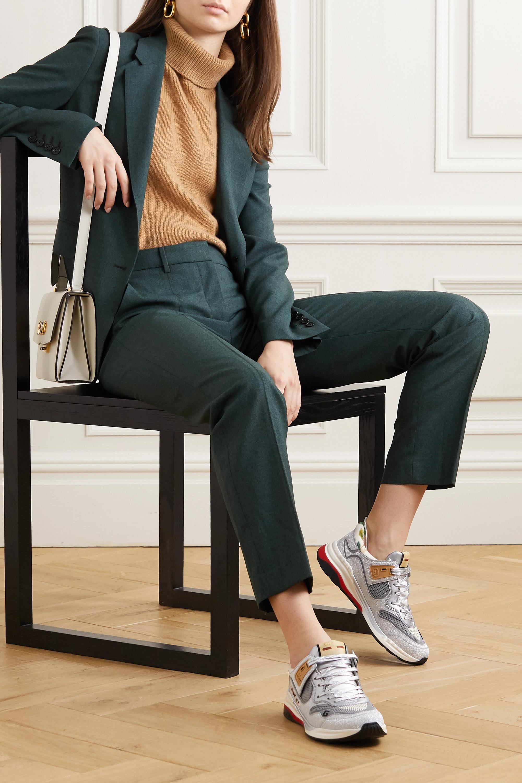 Gucci Ultrapace 亮片金葱帆布网眼纹理皮革运动鞋