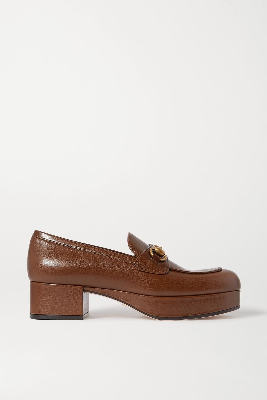 Gucci Houdan horsebit-detailed textured-leather platform pumps