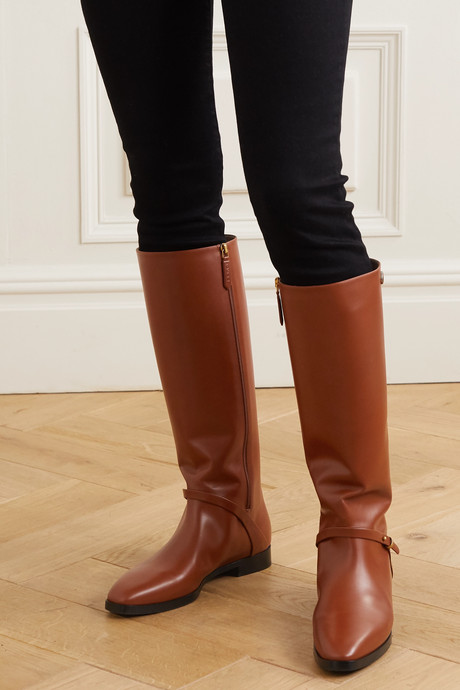 Rosie logo-embellished leather knee boots
