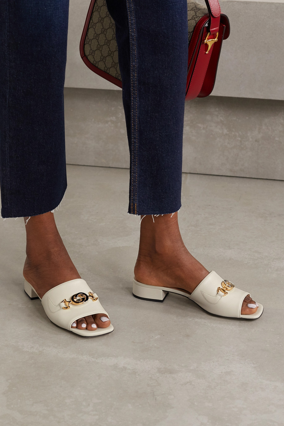 Gucci Zumi embellished leather mules