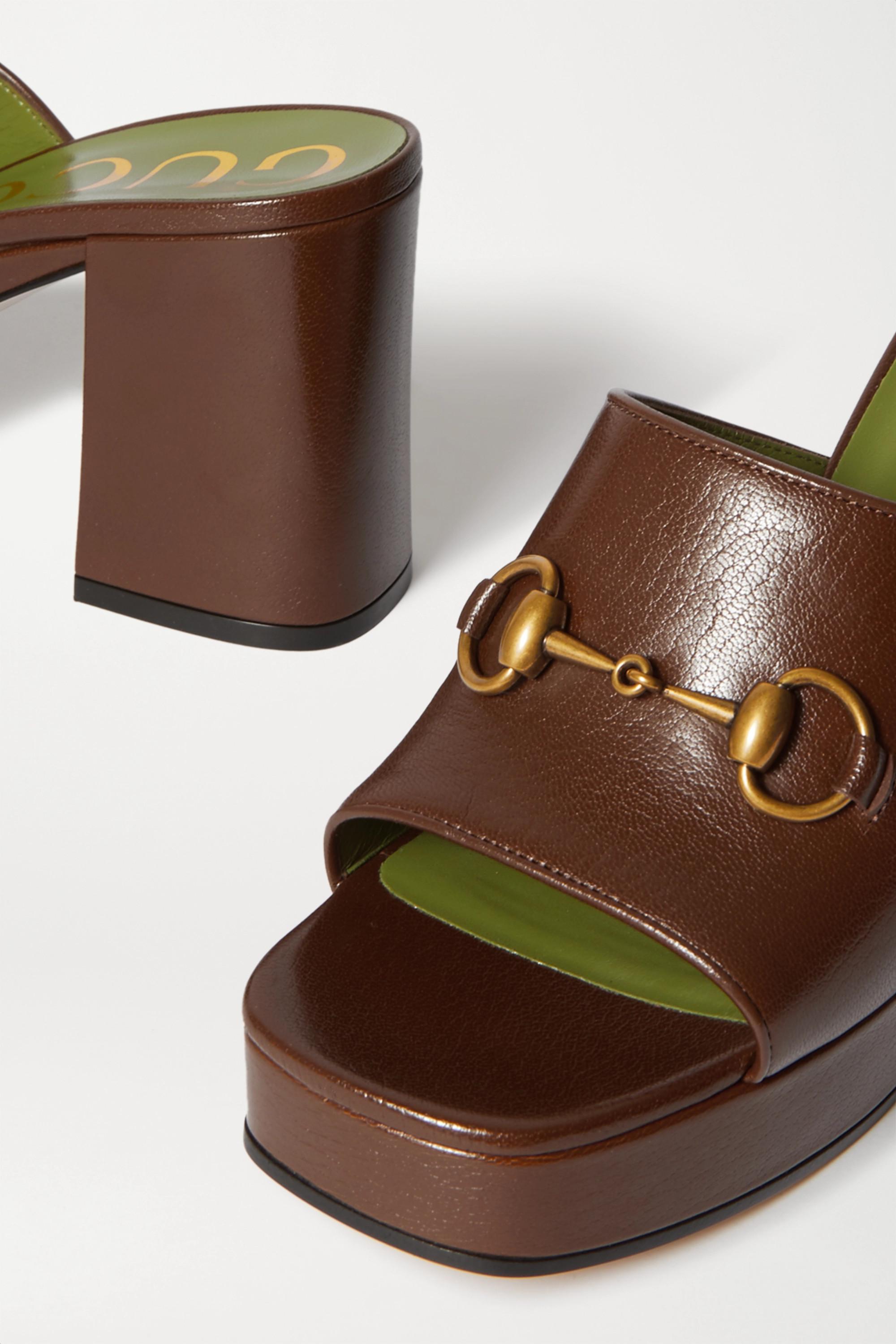 Gucci Houdan horsebit-detailed leather platform mules
