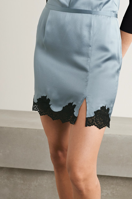 James lace-trimmed washed silk-satin mini skirt