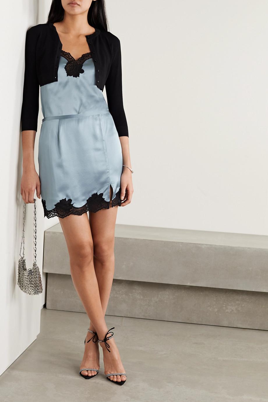 Fleur du Mal James lace-trimmed washed silk-satin mini skirt