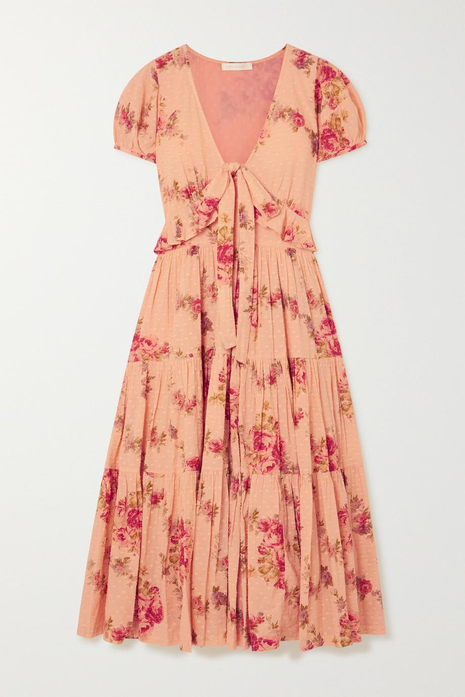 LoveShackFancy | Carlton tiered floral-print Swiss-dot cotton midi dress | NET-A-PORTER.COM