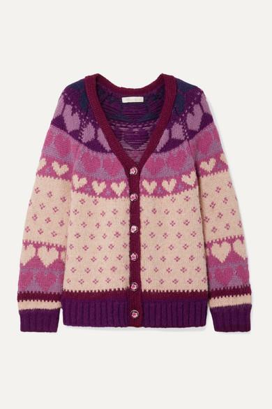 Deena Intarsia Knit Cardigan by Love Shack Fancy