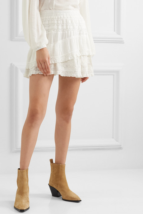 Adelia crochet-trimmed embroidered cotton-voile mini skirt