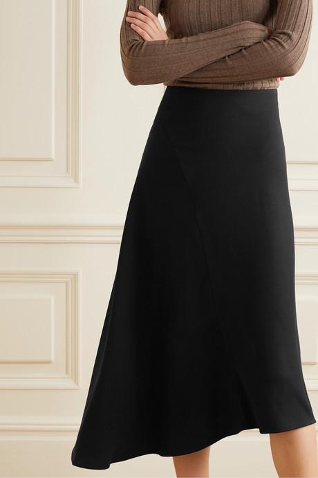 Asymmetric twill midi skirt