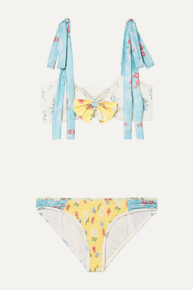Ginger Bow Detailed Shirred Floral Print Bikini by Love Shack Fancy