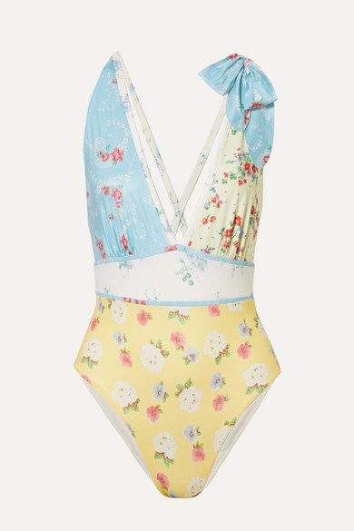 Millicent Bow Embellished Patchwork Swimsuit by Love Shack Fancy