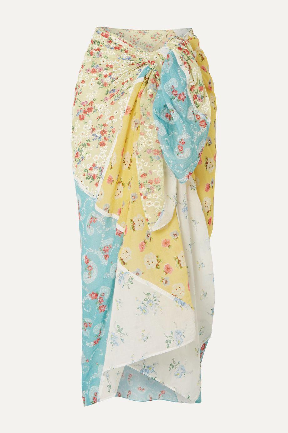 LoveShackFancy Noa patchwork cotton-gauze pareo
