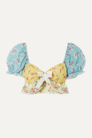 LoveShackFancy Soleil cropped patchwork floral-print cotton-voile top