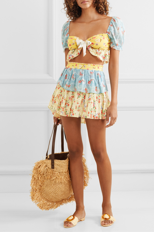 LoveShackFancy Soleil cropped patchwork floral-print cotton-voile top