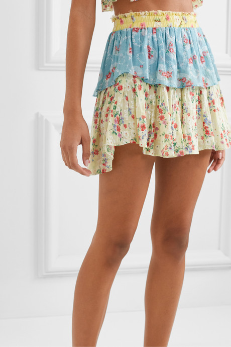 Tiered patchwork floral-print cotton-voile mini skirt