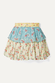 LoveShackFancy Tiered patchwork floral-print cotton-voile mini skirt