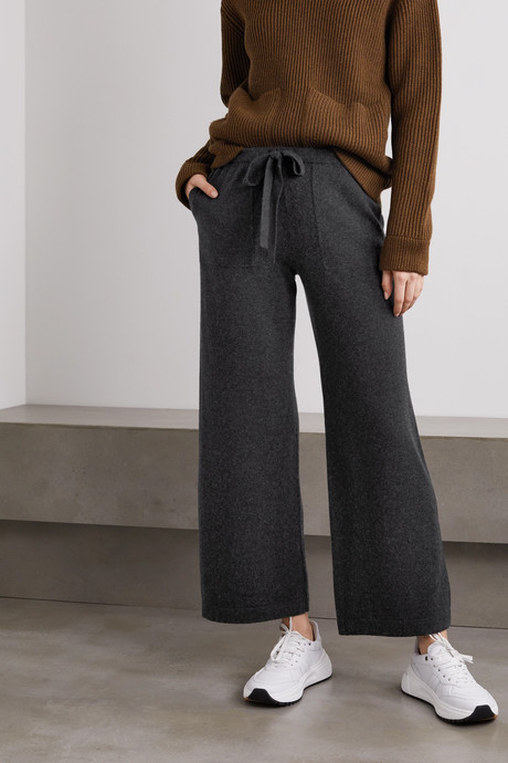 Cropped wool and cashmere-blend wide-leg pants
