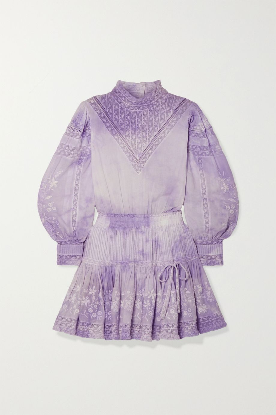 LoveShackFancy Viola crochet-trimmed embroidered tie-dyed cotton-voile mini dress