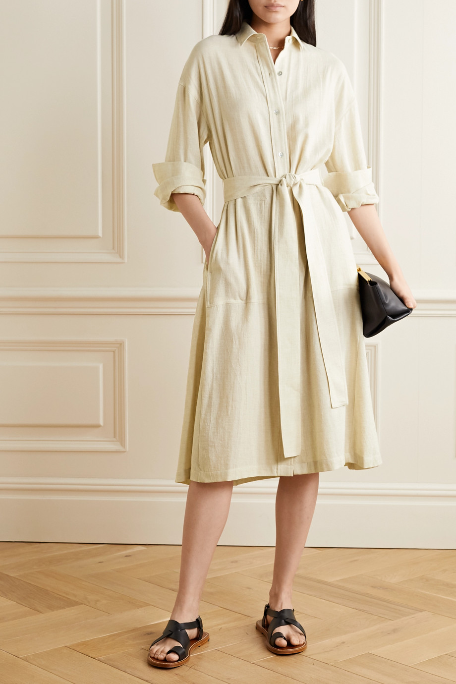 Vince Belted cotton-blend shirt dress