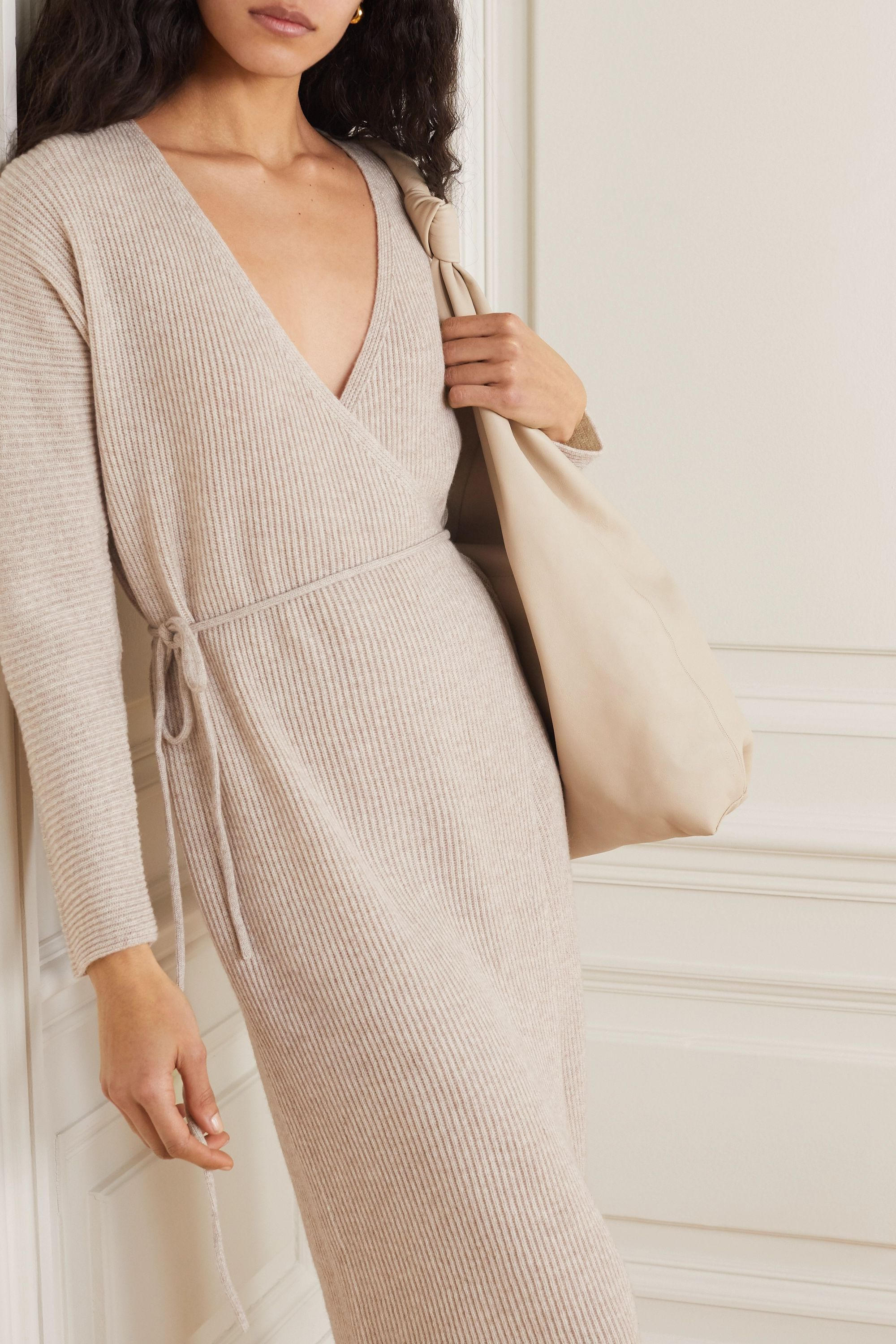 Vince Ribbed wool and cashmere-blend wrap dress