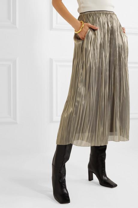 Pleated lamé culottes