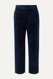 Cropped velvet straight-leg pants