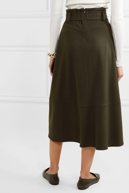 Vince Belted wool-blend midi skirt