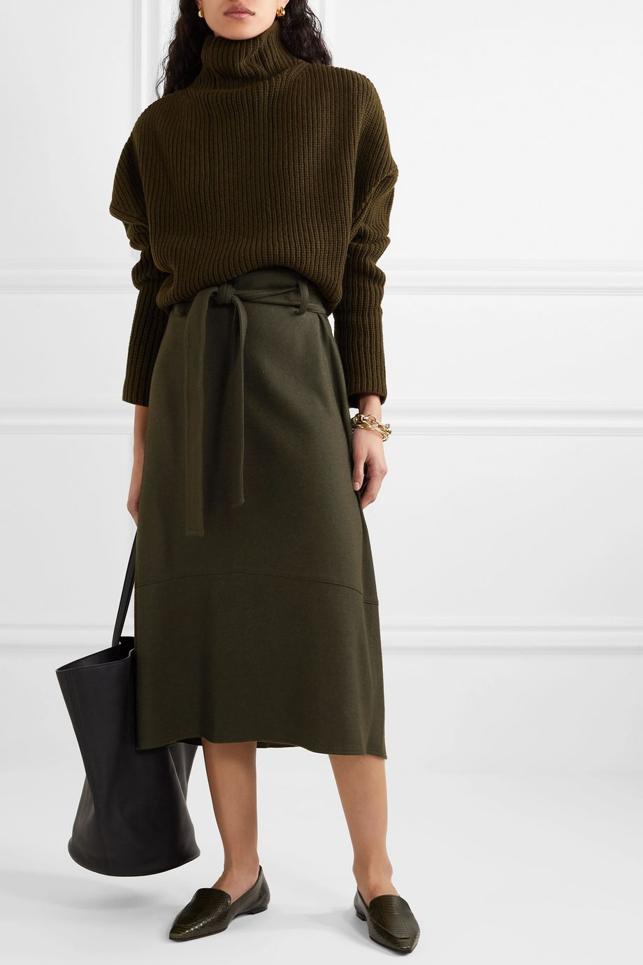 Vince Belted wool-blend midi skirt