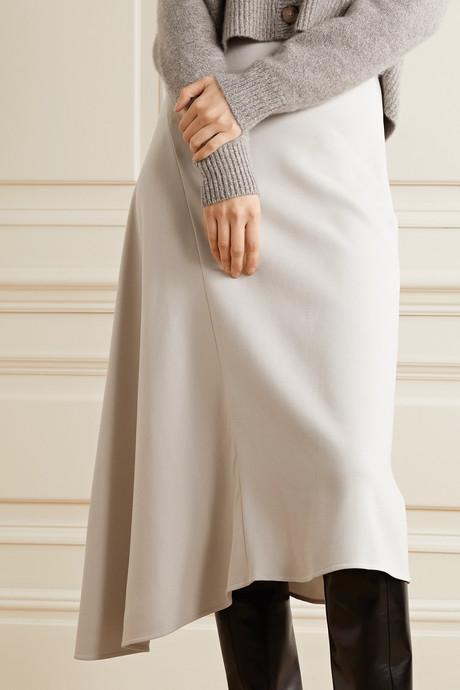 Asymmetric stretch-twill midi skirt