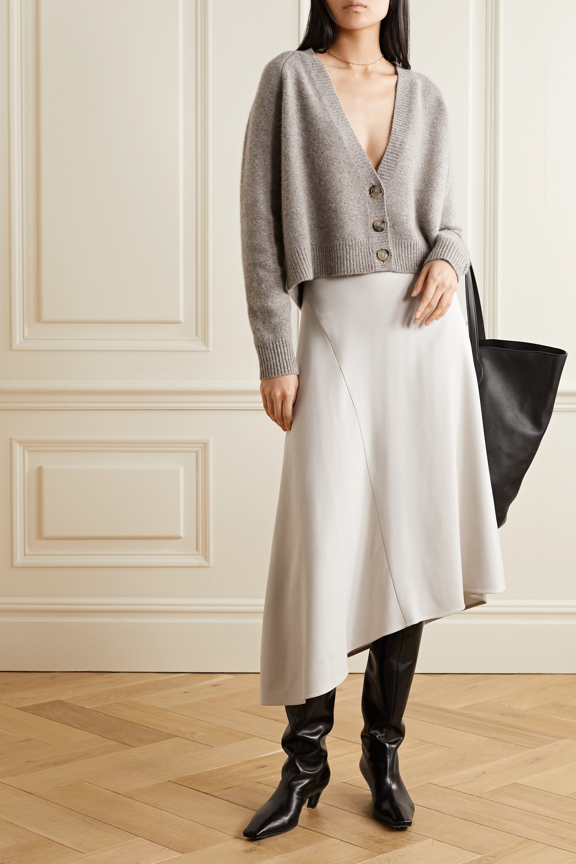 Vince Asymmetric stretch-twill midi skirt