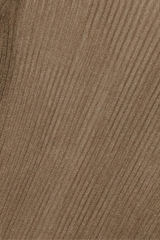 Vince Metallic ribbed-knit turtleneck top