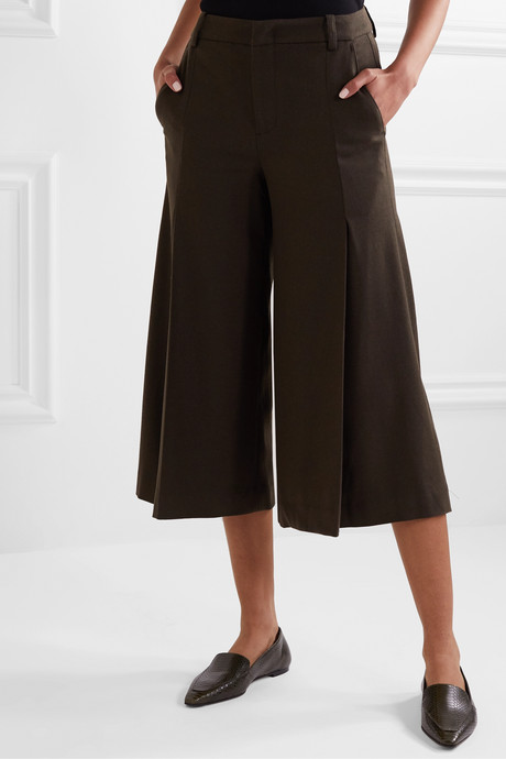 Pleated twill culottes