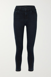 J Brand Leenah cropped frayed high-rise skinny jeans
