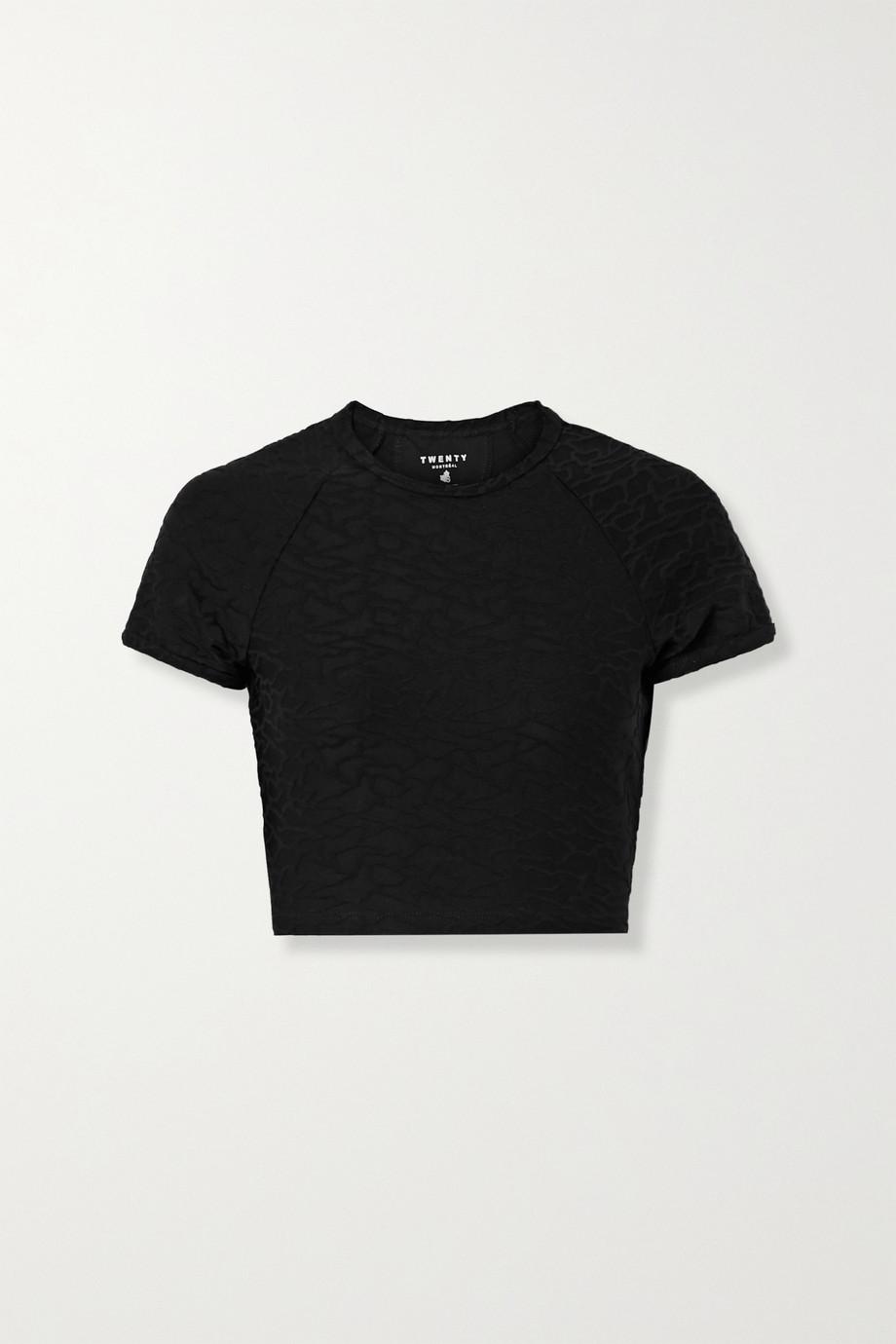 TWENTY Montréal Connect 3D verkürztes T-Shirt aus Jacquard-Strick mit Stretch-Anteil