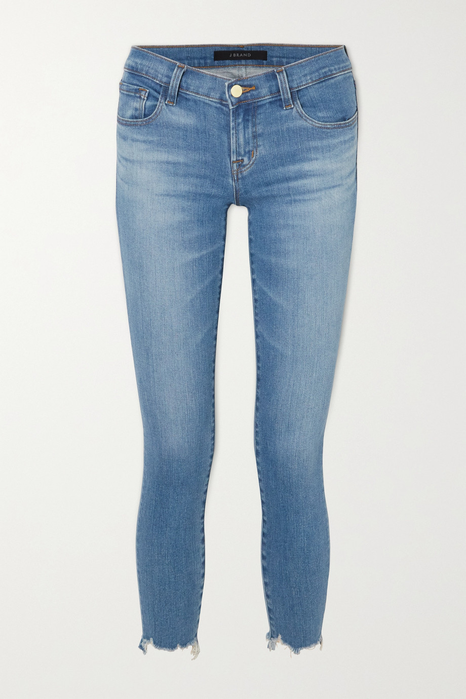 J Brand Cropped distressed low-rise skinny jeans