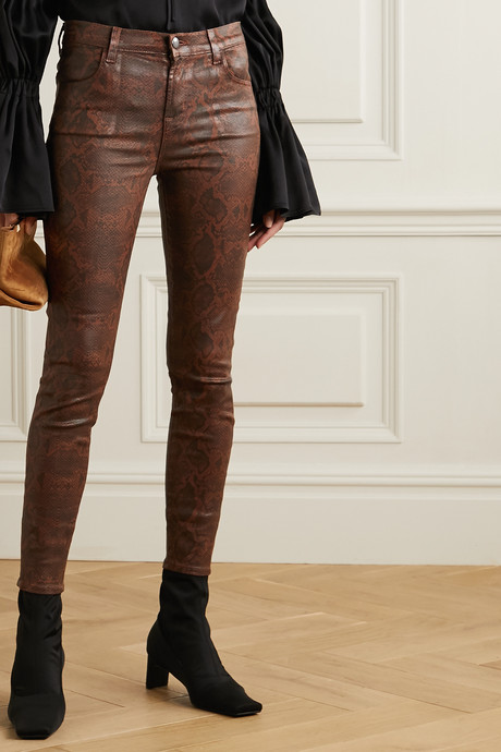 Alana cropped snake-effect high-rise skinny jeans