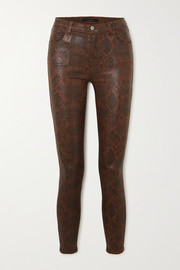 J Brand Alana cropped snake-effect high-rise skinny jeans