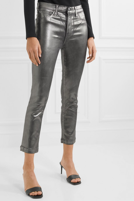Ruby cropped metallic coated  high-rise slim-leg jeans