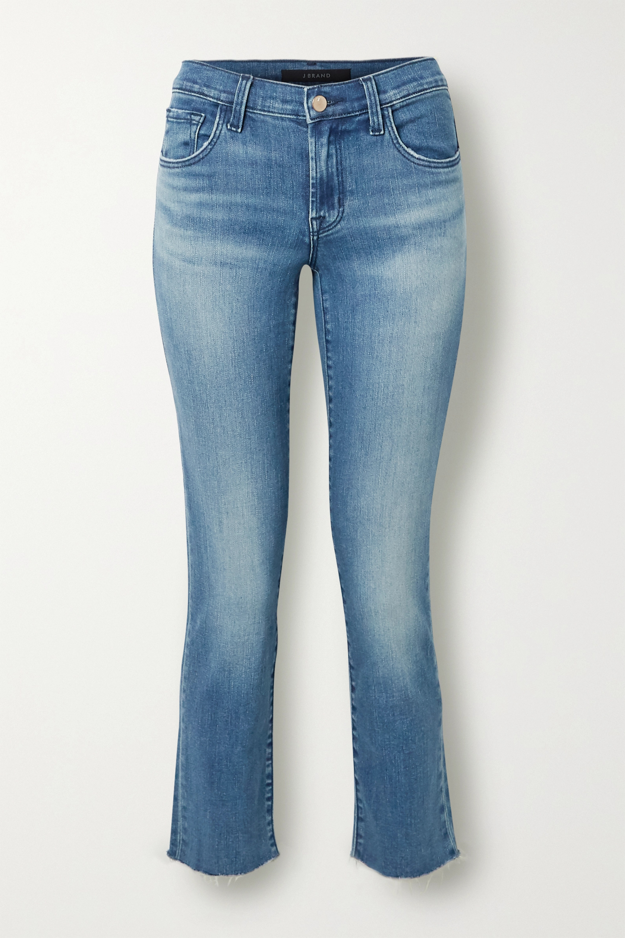 J Brand Adele cropped distressed high-rise slim-leg jeans