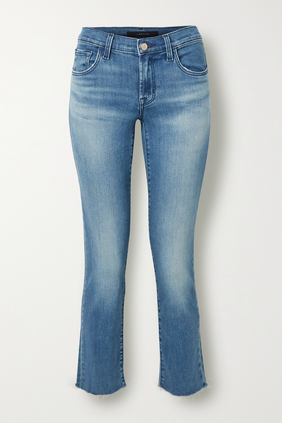 J Brand Adele cropped distressed high-rise slim-leg jeans