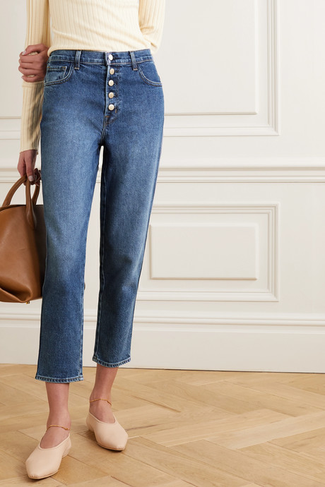 Heather high-rise straight-leg jeans