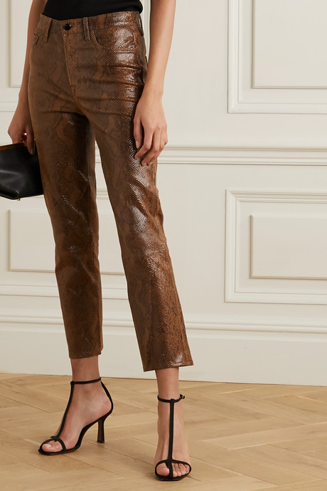 Ruby snake-effect leather skinny pants