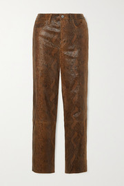 J Brand Ruby snake-effect leather skinny pants
