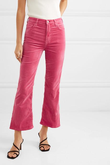 Julia cropped cotton-blend velvet flared pants