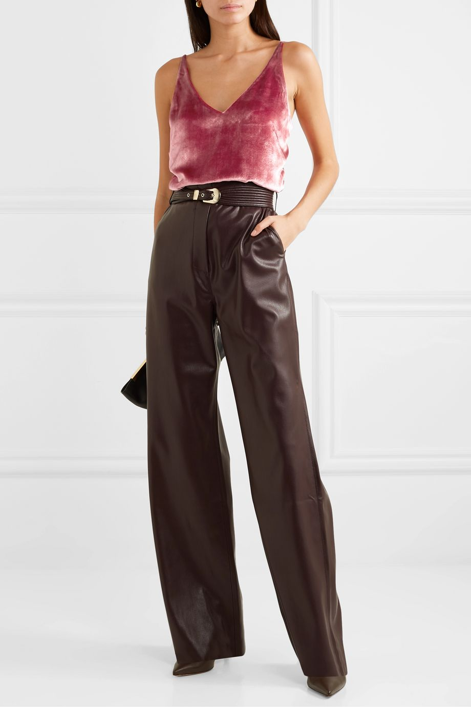 J Brand Lucy velvet and chiffon camisole