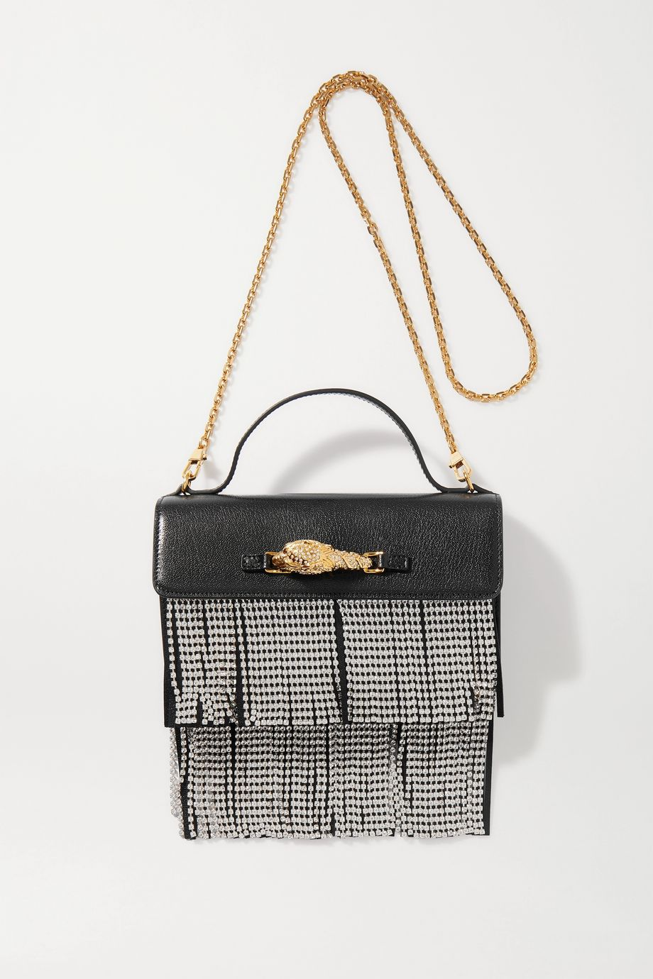 Gucci Broadway small crystal-embellished fringed leather tote