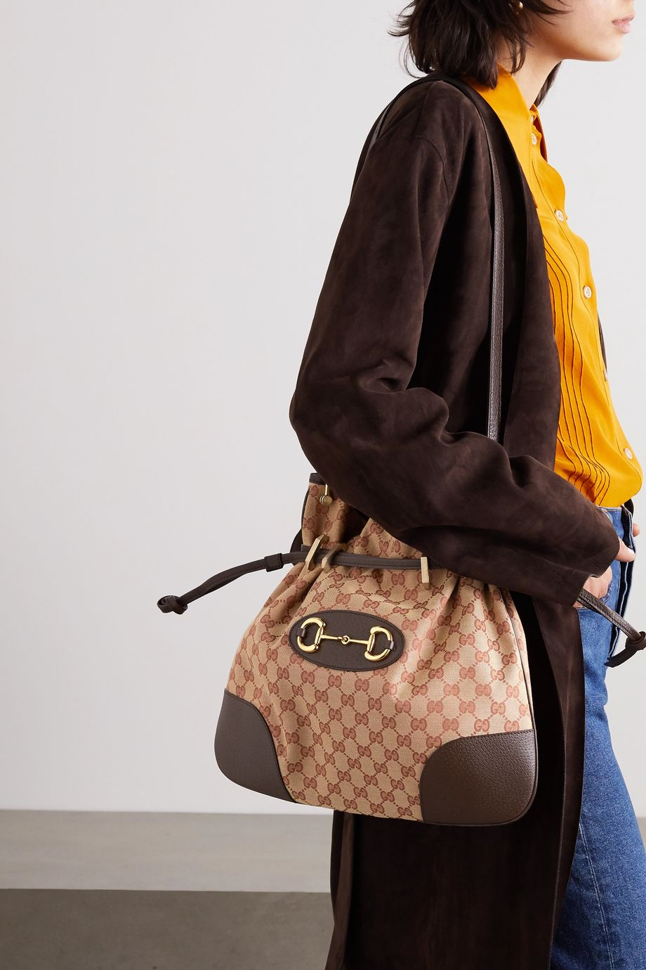 Gucci Morsetto horsebit-detailed textured-leather and printed coated-canvas shoulder bag