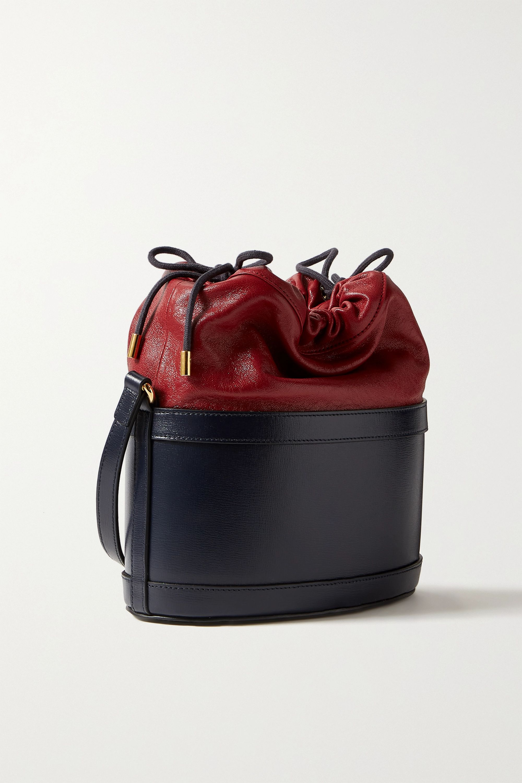 Gucci Morsetto zweifarbige Beuteltasche aus strukturiertem Leder mit Horsebit-Detail