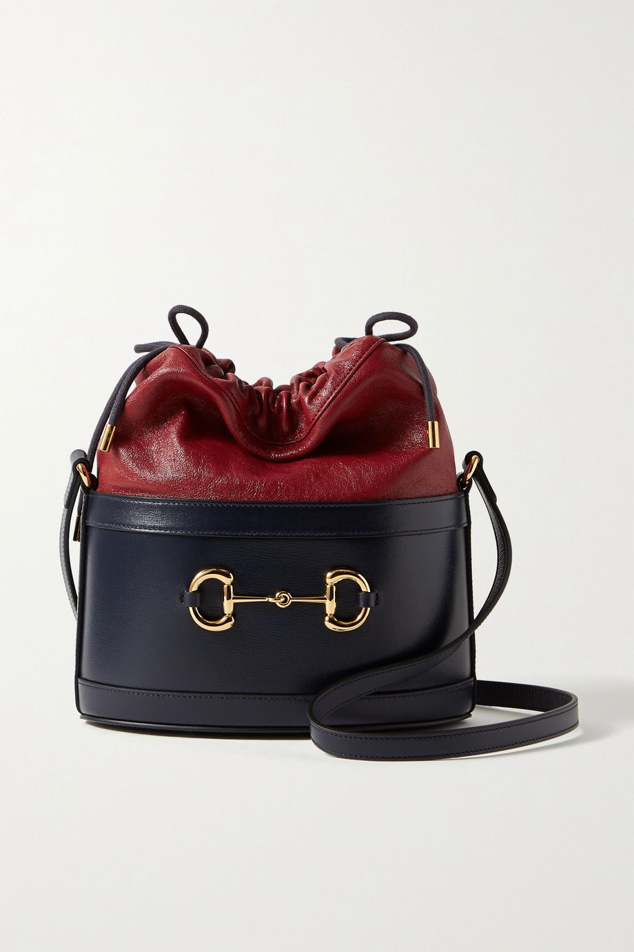 Gucci Morsetto horsebit-detailed two-tone textured-leather bucket bag