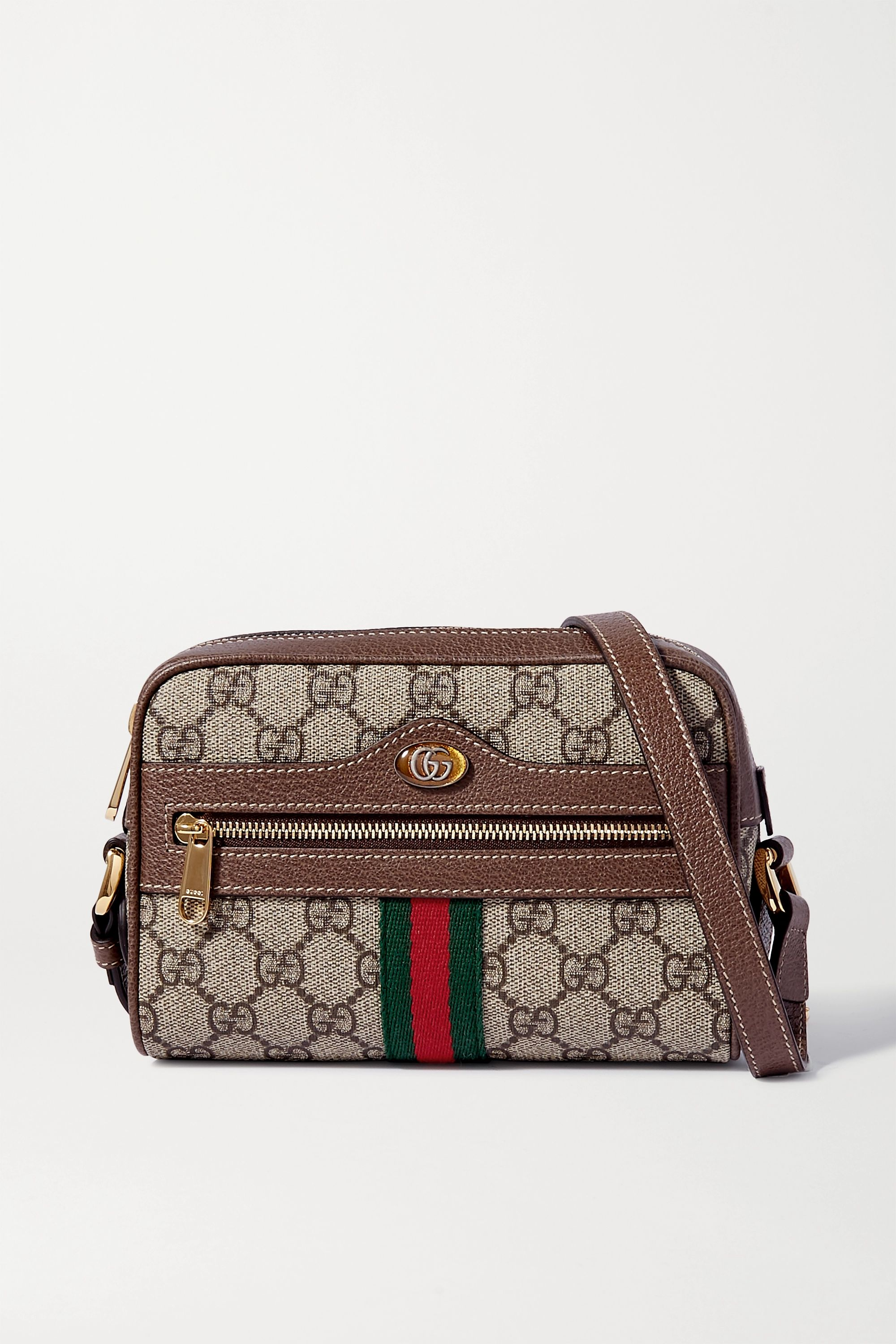 Brown Ophidia Small Leather Trimmed Printed Coated Canvas Camera Bag Gucci Net A Porter