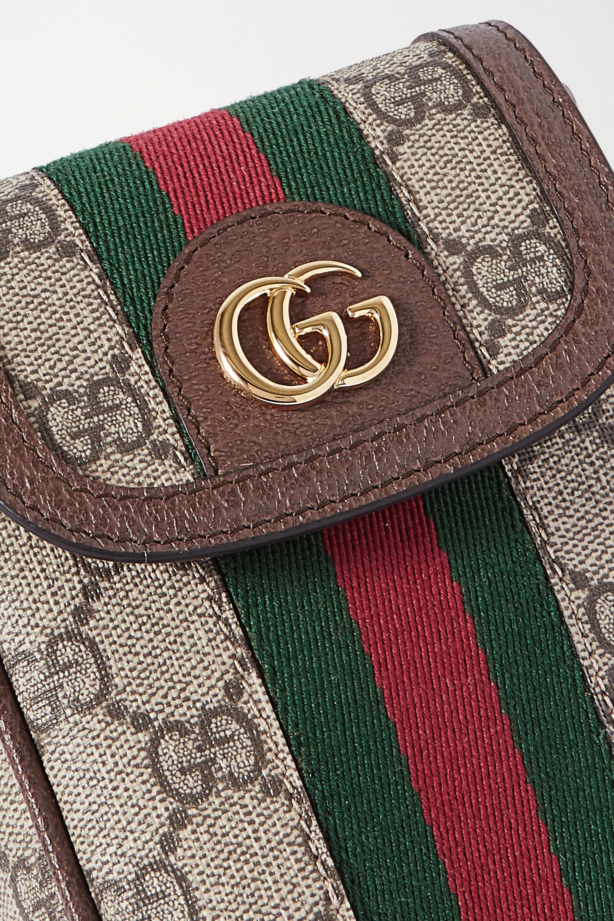 Gucci Ophidia leather-trimmed printed coated-canvas shoulder bag